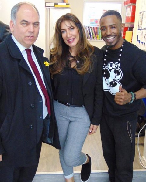 Chris Preddie OBE & MP Bambos Charalambos with Head Teacher Maina Savva
