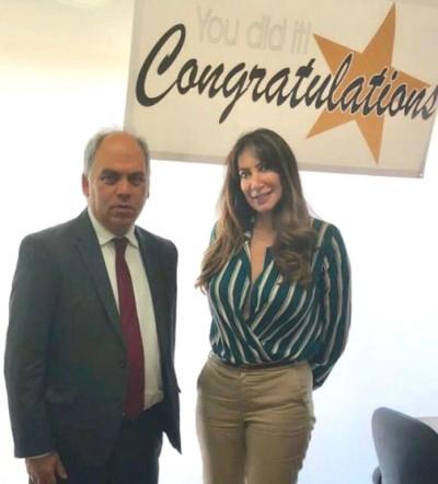 Head Teacher Marina Savva with local MP Bambos Charalambos
